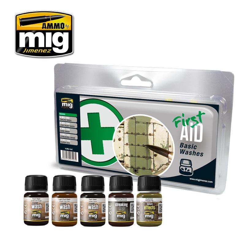 Ammo by Mig Jimenez Weathering Sets - First Aid Basic Washes - A.MIG-7447