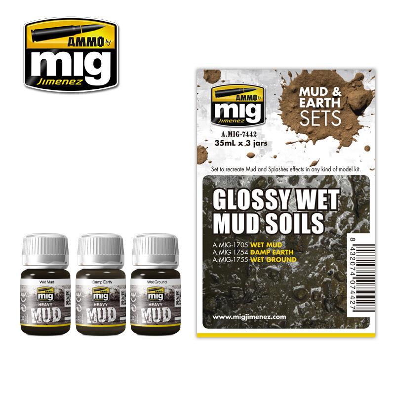 Ammo by Mig Jimenez Weathering Sets - Glossy Wet Mud Soils - A.MIG-7442
