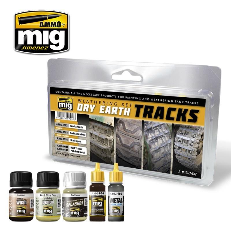 Ammo by Mig Jimenez Weathering Sets - Dry Earth Tracks - A.MIG-7437