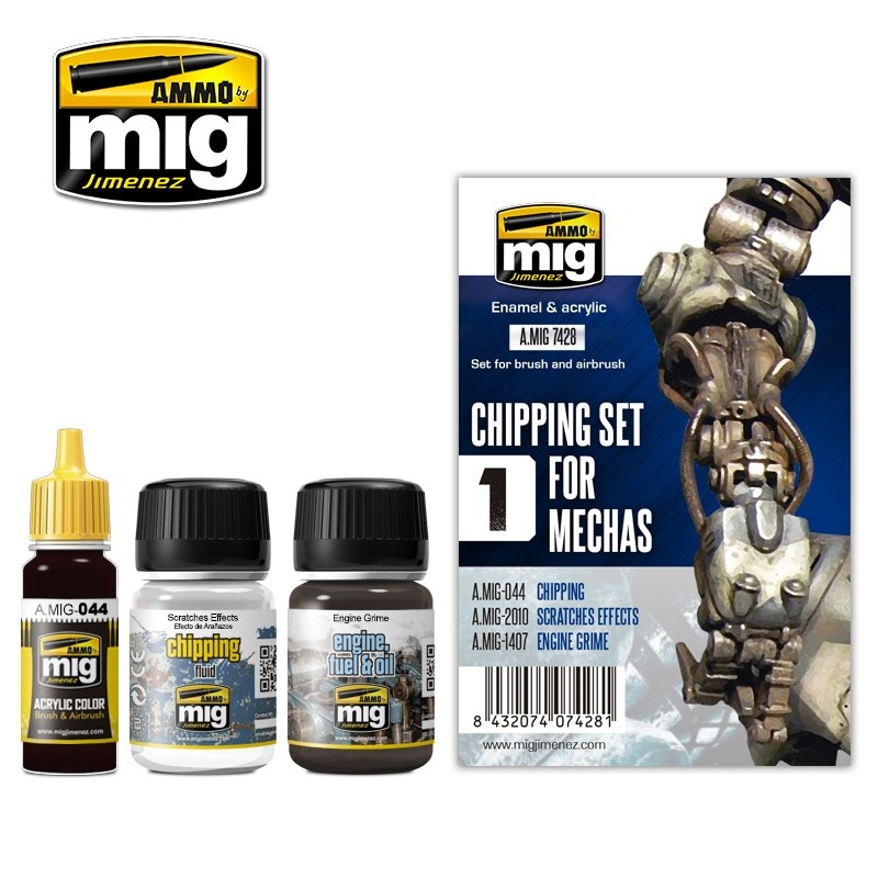 Ammo by Mig Jimenez Weathering Sets - Chipping Set For Mechas  - A.MIG-7428