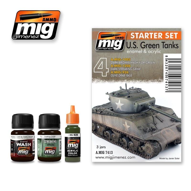 Ammo by Mig Jimenez Weathering Sets - Us Green Vehicles Set  - A.MIG-7413