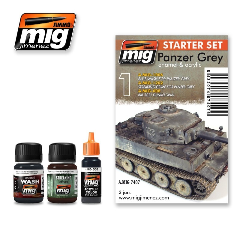 Ammo by Mig Jimenez Weathering Sets - Panzer Grey Set  - A.MIG-7407