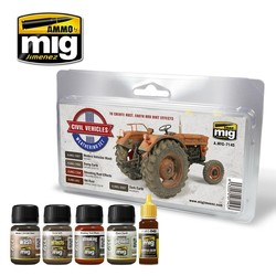 Civil Vehicles Weathering Set - A.MIG-7145