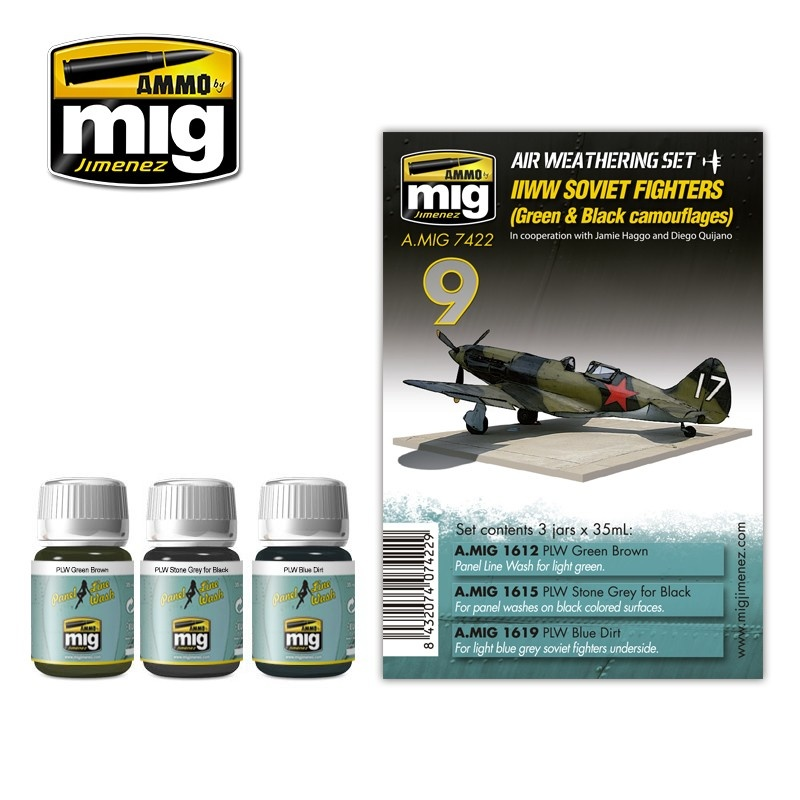 Ammo by Mig Jimenez Airplane Weathering Sets - Ww II Soviet Airplanes (Green & Black Camouflages) - A.MIG-7422