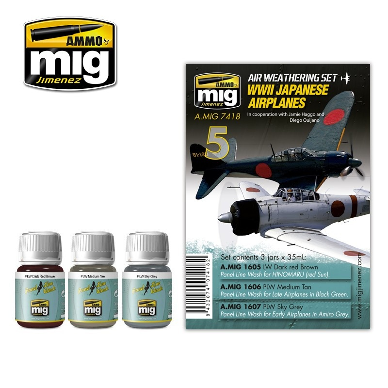 Ammo by Mig Jimenez Airplane Weathering Sets - Ww Ii Japanese Airplanes - A.MIG-7418