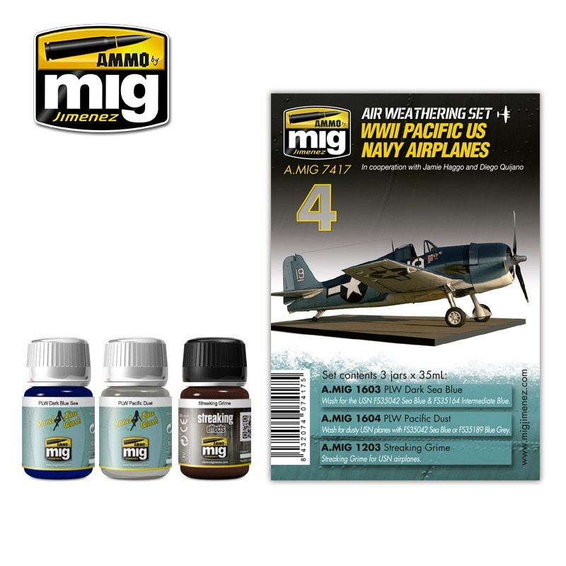Ammo by Mig Jimenez Airplane Weathering Sets - Ww Ii Pacific Us Navy Airplanes - A.MIG-7417