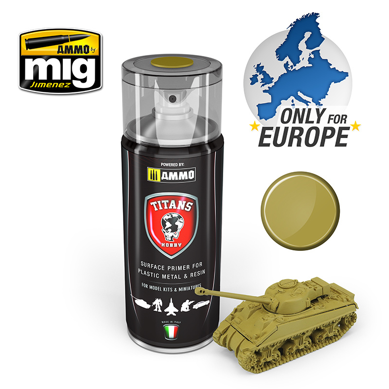 Ammo by Mig Jimenez Titans Hobby - Desert Yellow Matt Primer - 400ml - TTH111