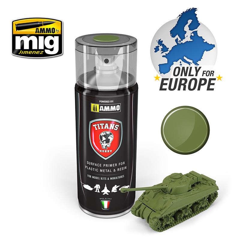 Ammo by Mig Jimenez Titans Hobby - Military Green Matt Primer  - 400ml - TTH108
