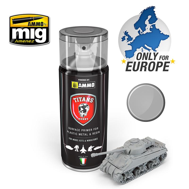 Ammo by Mig Jimenez Titans Hobby - Light Grey Matt Primer - 400ml - TTH102