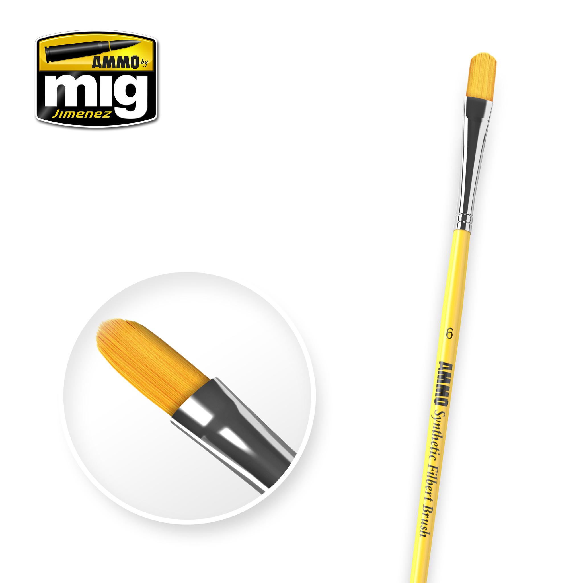 Ammo by Mig Jimenez 6 Syntetic Filbert Brush