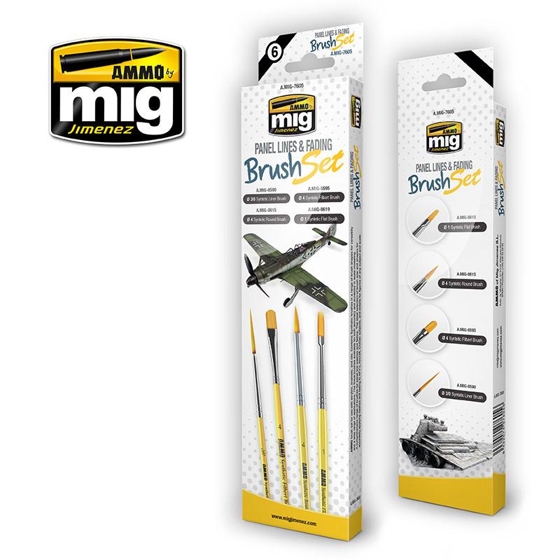 Ammo by Mig Jimenez Panel Lines And Fading Brush Set