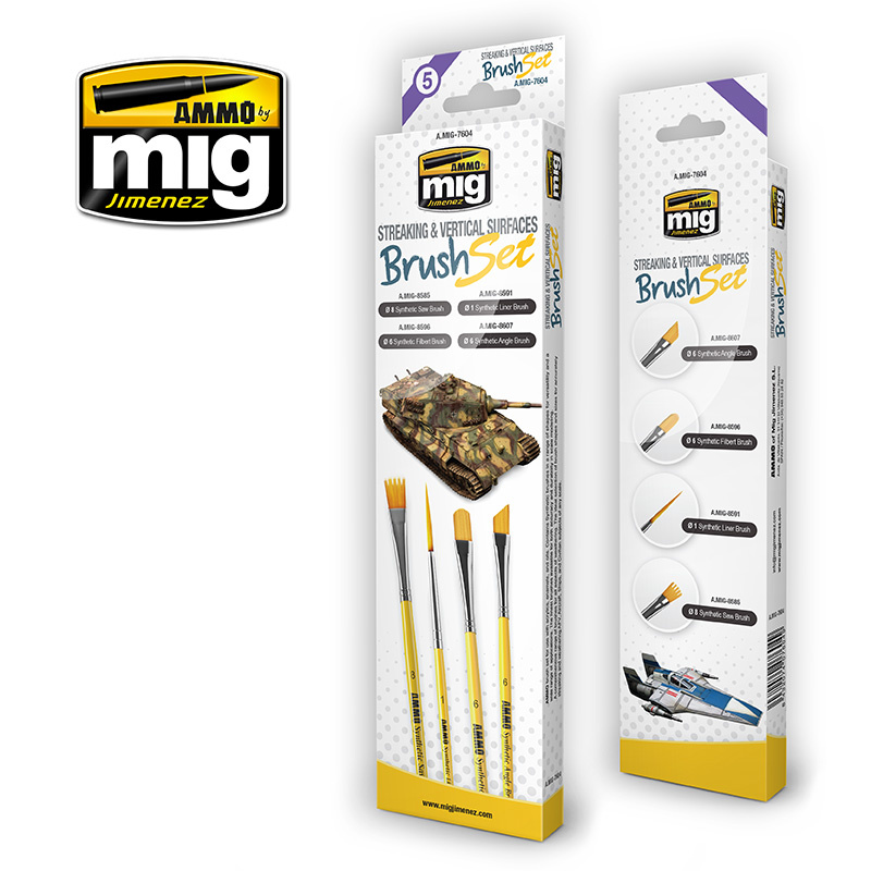 Ammo by Mig Jimenez Streaking And Vertical Surfaces Brush Set