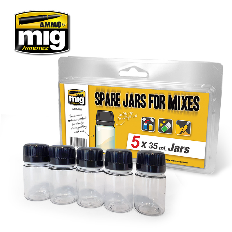 Ammo by Mig Jimenez Spare Big Jars For Mixes (5 X 35 Ml Jars) - A.MIG-8033