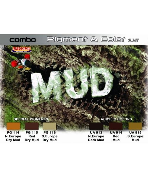 """Life Color Pigment & Color Set """"Mud"""" - 6 x 22ml - Lifecolor - LIC-SPG05"""