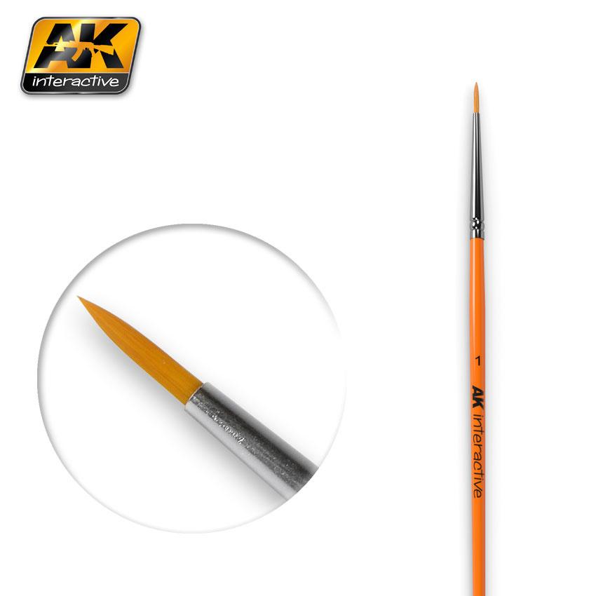 AK-Interactive Round Brush 1 Synthetic - AK-603
