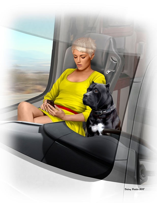 "Masterbox ""Truckers series. Joni (Lookout) Johnson & her dog Maxx""  - Masterbox - MBLTD24045"