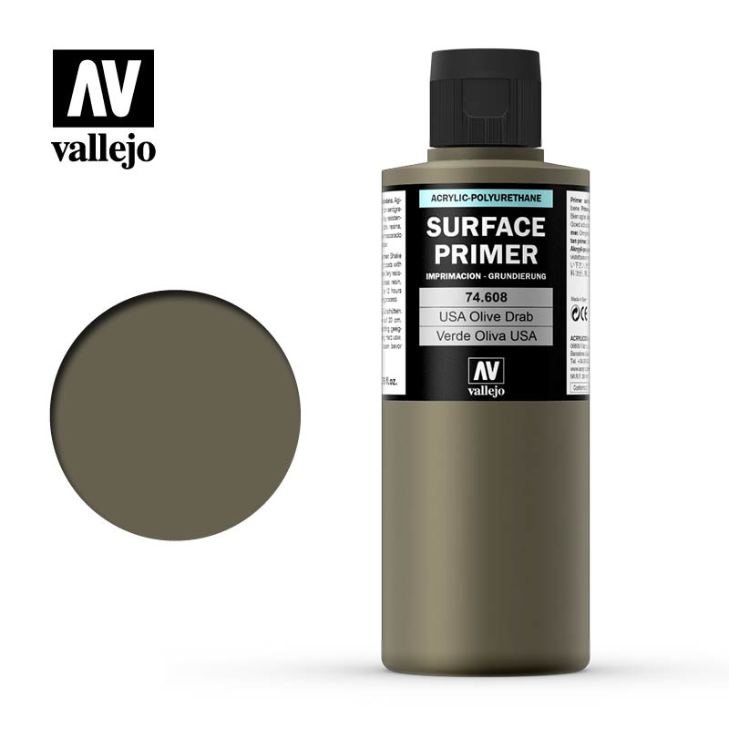 Vallejo Primer USA Olive Drab - 200ml - Vallejo - VAL-74608