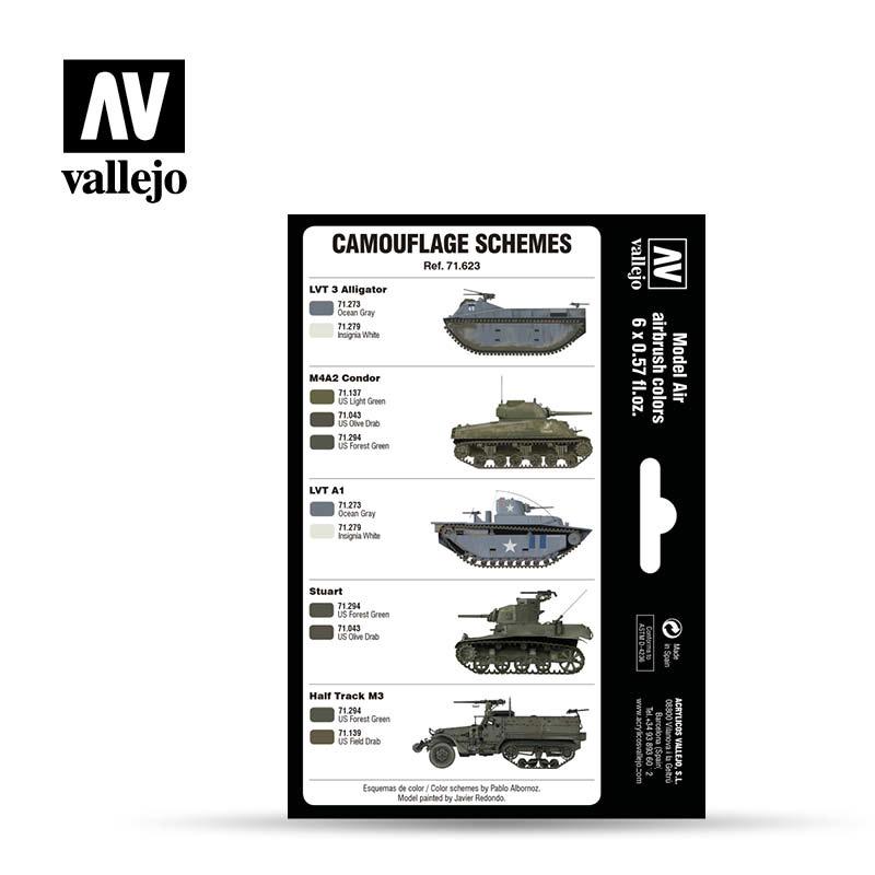 Vallejo Model Air - Wwii Usmc Colors Green & Grey Patterns 1 - Vallejo - VAL-71623