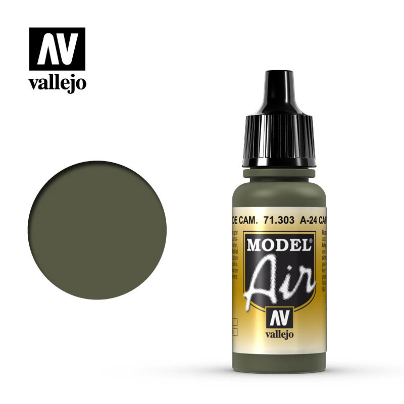 Vallejo Model Air - A-24M Camouflage Green - 17 ml - Vallejo - VAL-71303