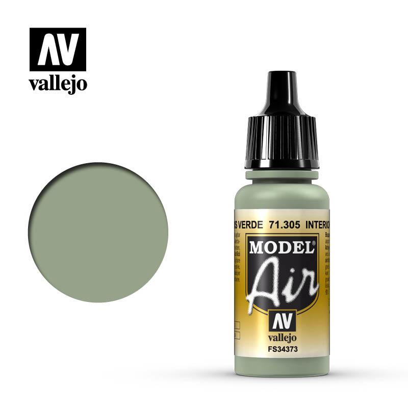 Vallejo Model Air - Interior Grey Green - 17 ml - Vallejo - VAL-71305