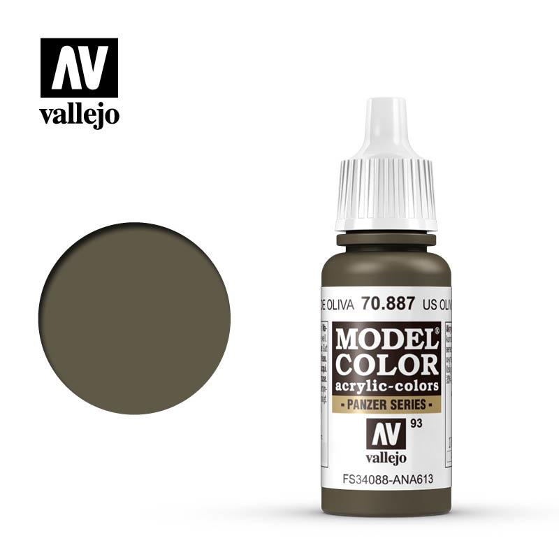 Vallejo Model Color - Us Olive Drab - 17 ml - Vallejo - VAL-70887