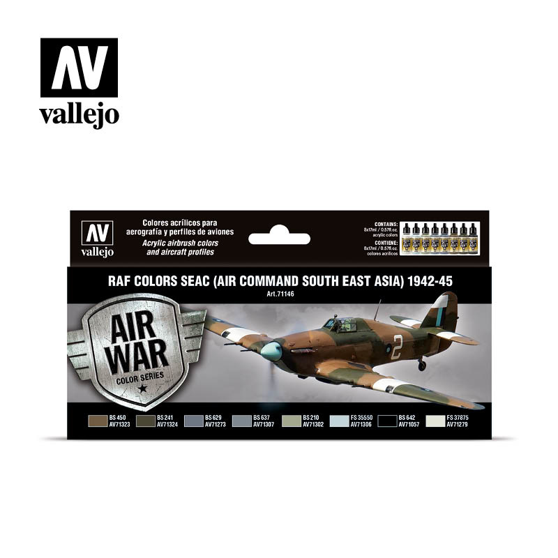 Vallejo Model Air - RAF colors SEAC (Air Command South East Asia) 1942-1945 Set - Vallejo - VAL-71146