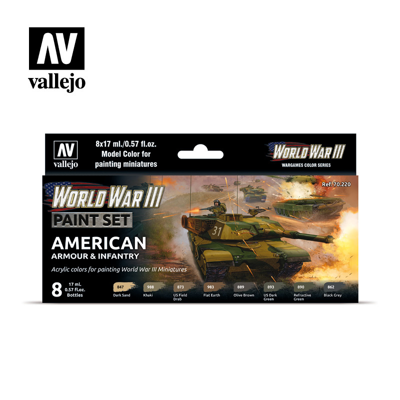 Vallejo Model Color - WWIII American Armour & Infantry Set - Vallejo - VAL-70220