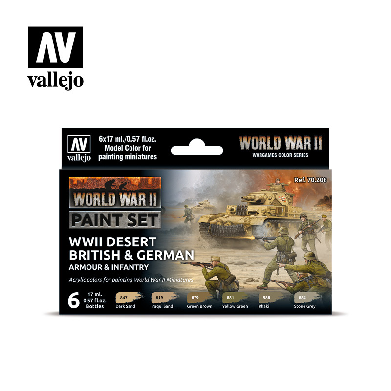Vallejo Model Color - WWII Desert British & German Armour & Infantry Set - Vallejo - VAL-70208
