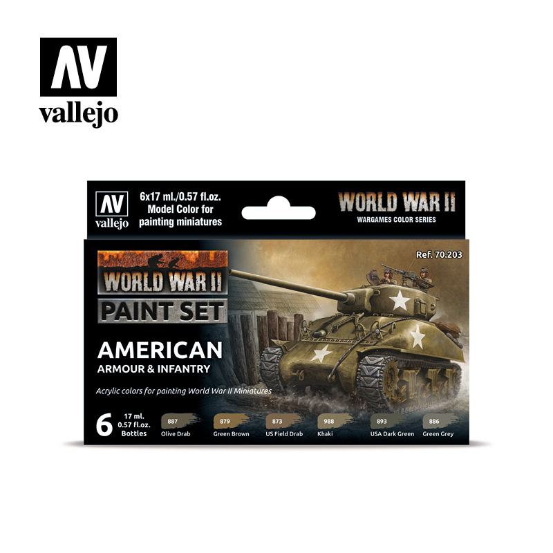 Vallejo Model Color - WWII American Armour & Infantry Set - Vallejo - VAL-70203