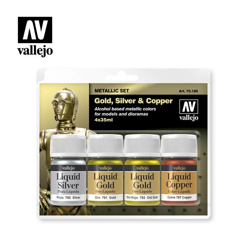 Vallejo Model Color - Gold, Silver & Copper Set - Vallejo - VAL-70199