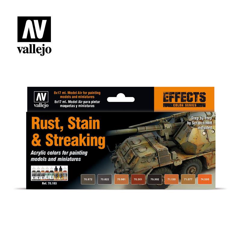 Vallejo Model Color - Rust,Stain & Steaking Paint Set Set - Vallejo - VAL-70183