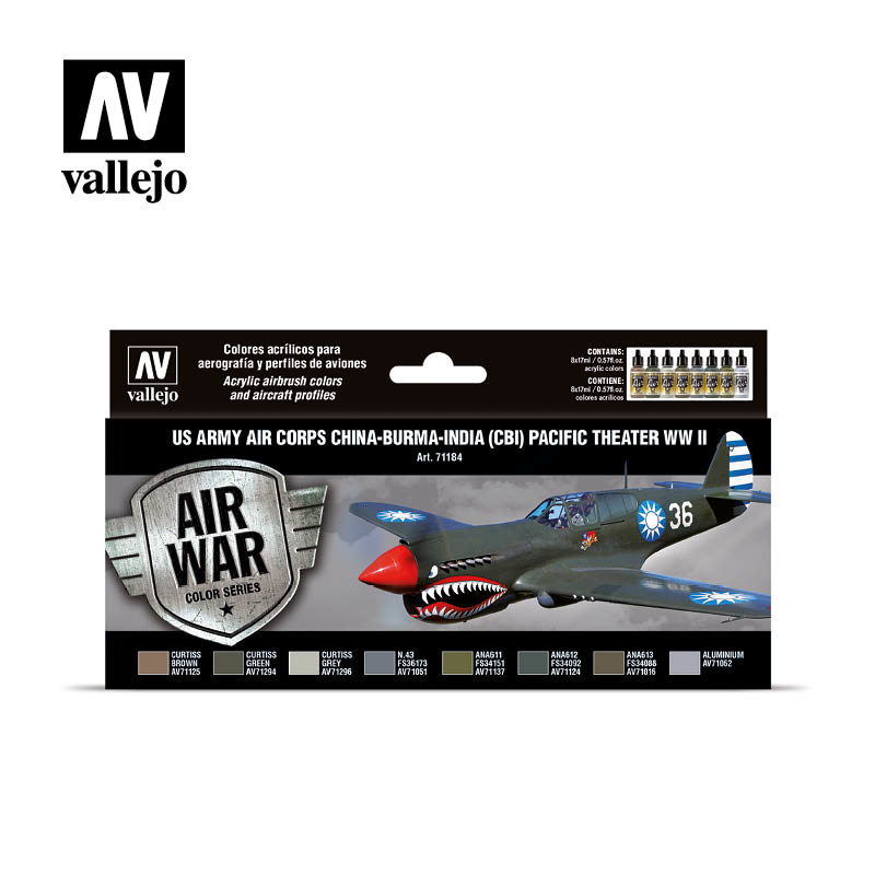 Vallejo Model Air - US Army Air Corps China-Burma-India (CBI) Pacific Theather WWII Set - Vallejo - VAL-71184