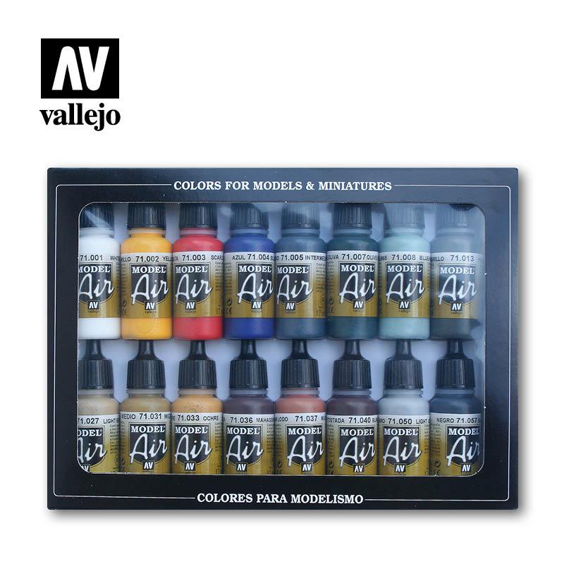 Vallejo Model Air - 16 Basic Colors Set - Vallejo - VAL-71178