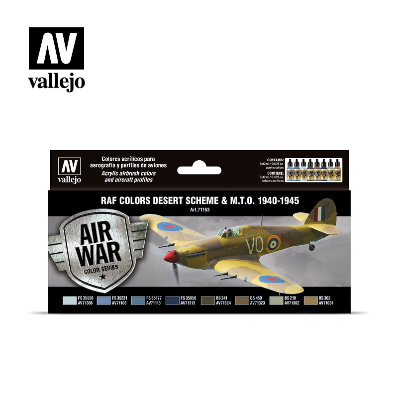 Vallejo Model Air - RAF colors Desert Scheme & M.T.O. 1940-1945 Set - Vallejo - VAL-71163