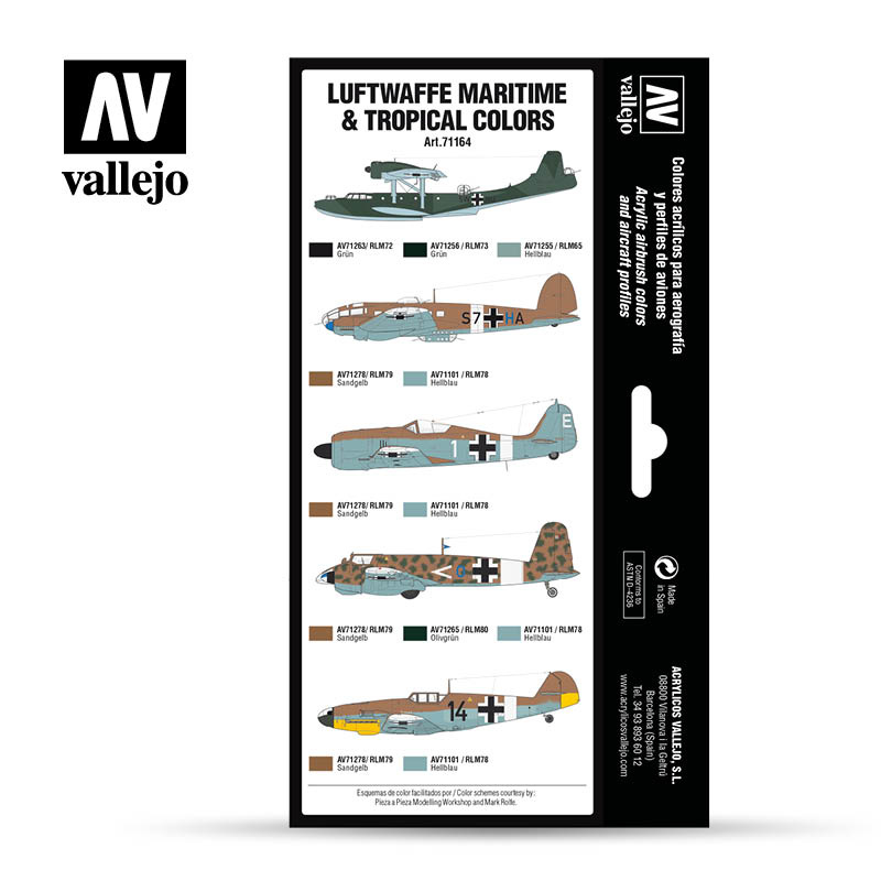 Vallejo Model Air - Luftwaffe Maritime and Tropical colors Set - Vallejo - VAL-71164