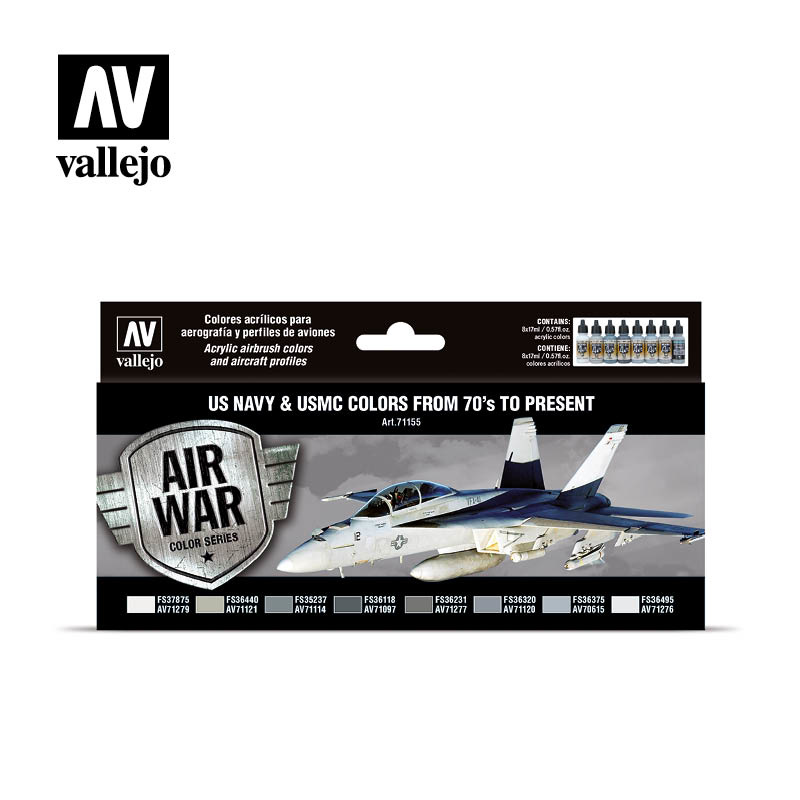 Vallejo Model Air - US Navy & USMC colors from 70's to present Set - Vallejo - VAL-71155