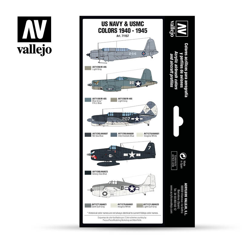 Vallejo Model Air - US Navy & USMC colors 1940-1945 Set - Vallejo - VAL-71157