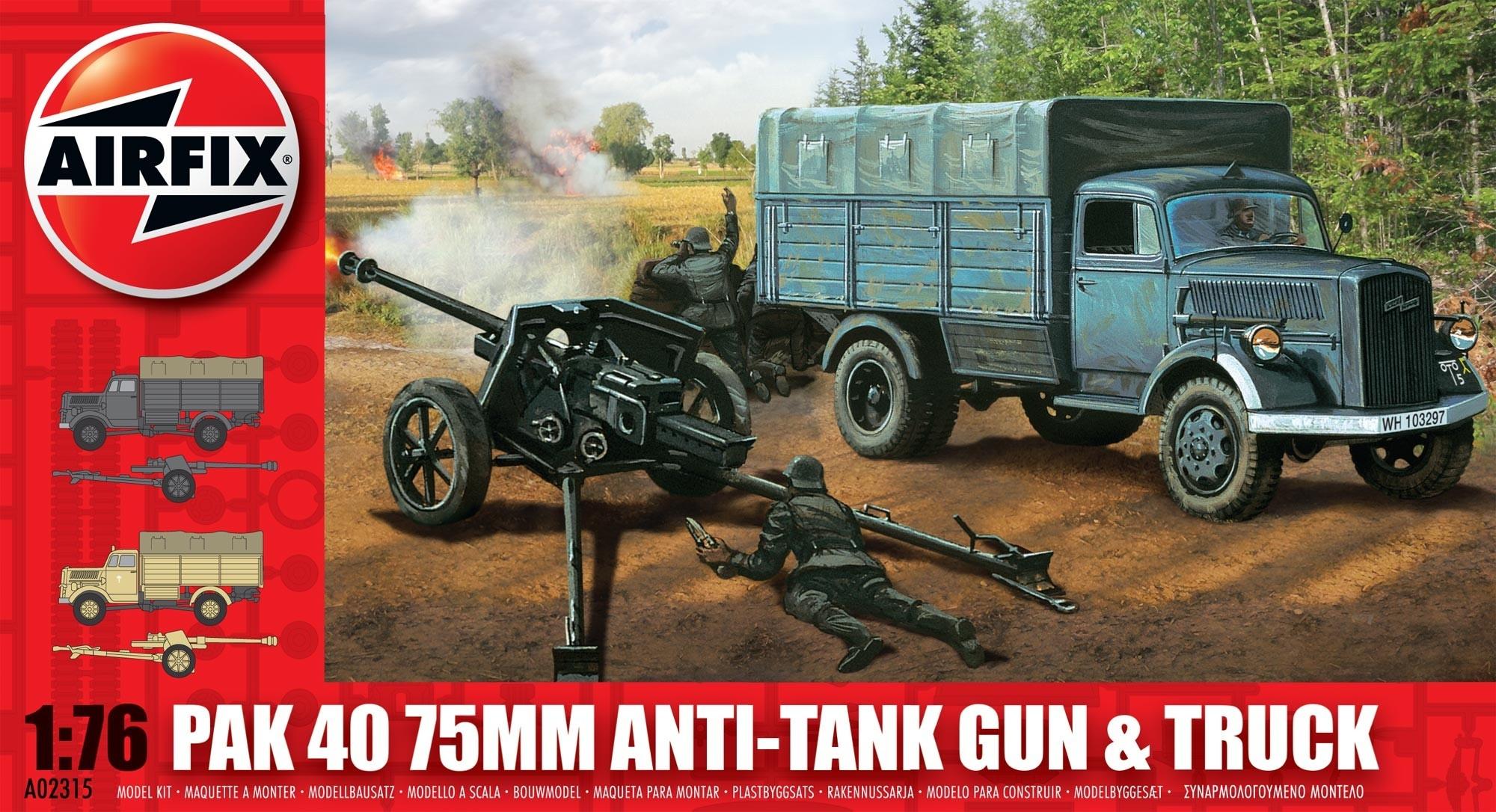 Airfix Opel Blitz & Pak 40 Gun  - Scale 1/76 - Airfix - AIX A02315