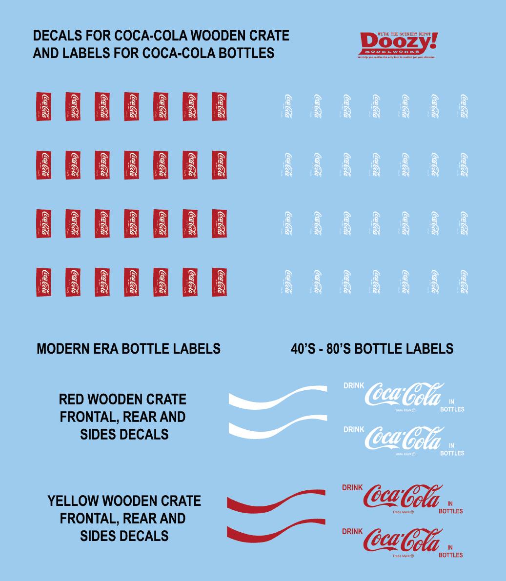 Doozy 1940-1980's WOODEN BOX COCA-COLA BOTTLES - Scale 1/24 - Doozy - DZ026