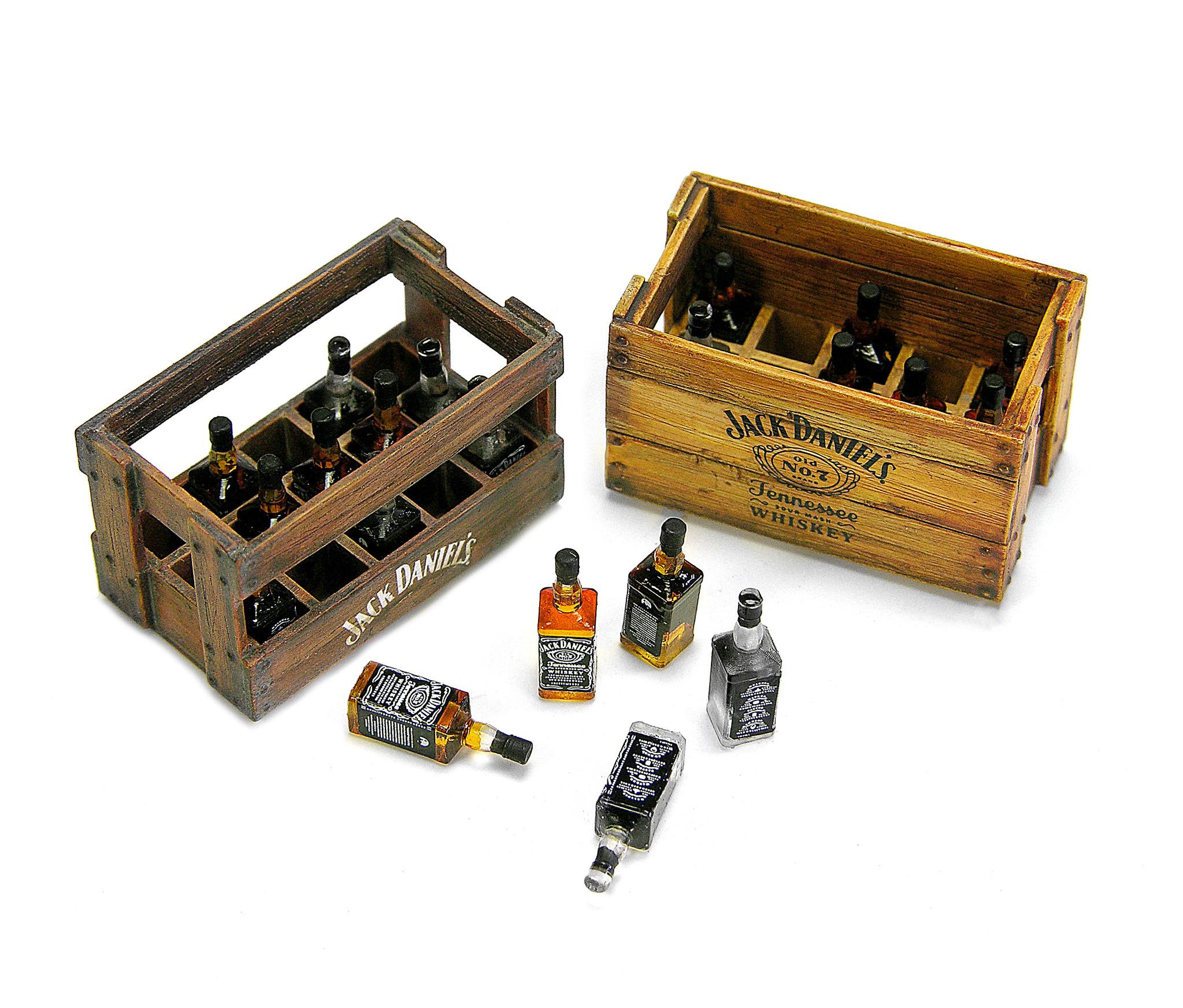 Doozy Wooden boxes of Jack Daniels Bottles - Scale 1/24 - Doozy - DZ029