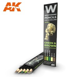 Watercolor Pencil Set Green And Brown Camouflages - AK-Interactive - AK-10040