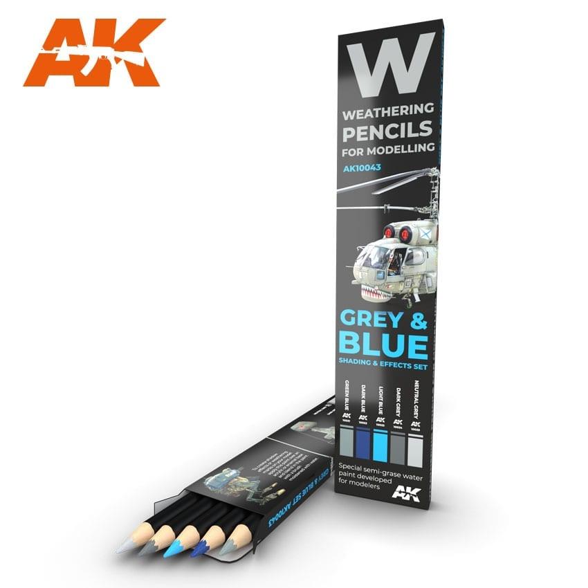 AK-Interactive Watercolor Pencil Set Grey And Blue Camouflages - AK-Interactive - AK-10043