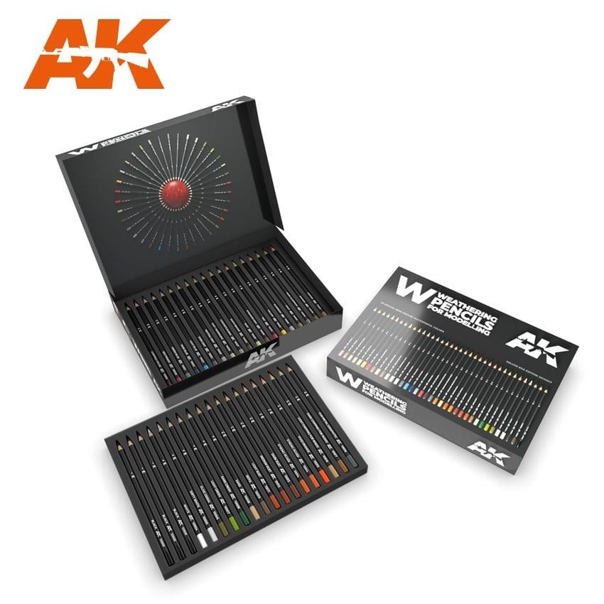 AK-Interactive Weathering Pencils Deluxe Edition Box (37 Waterpencil Colors) - AK-Interactive - AK-10047