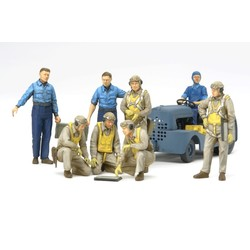 WWII Us Navy Pilots With Moto Tug - Scale 1/48 - Tamiya - TAM61107