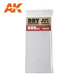 Dry Sandpaper 600 Grit. 3 Stuks
