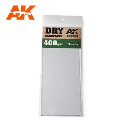 Dry Sandpaper 400 Grit. 3 Stuks