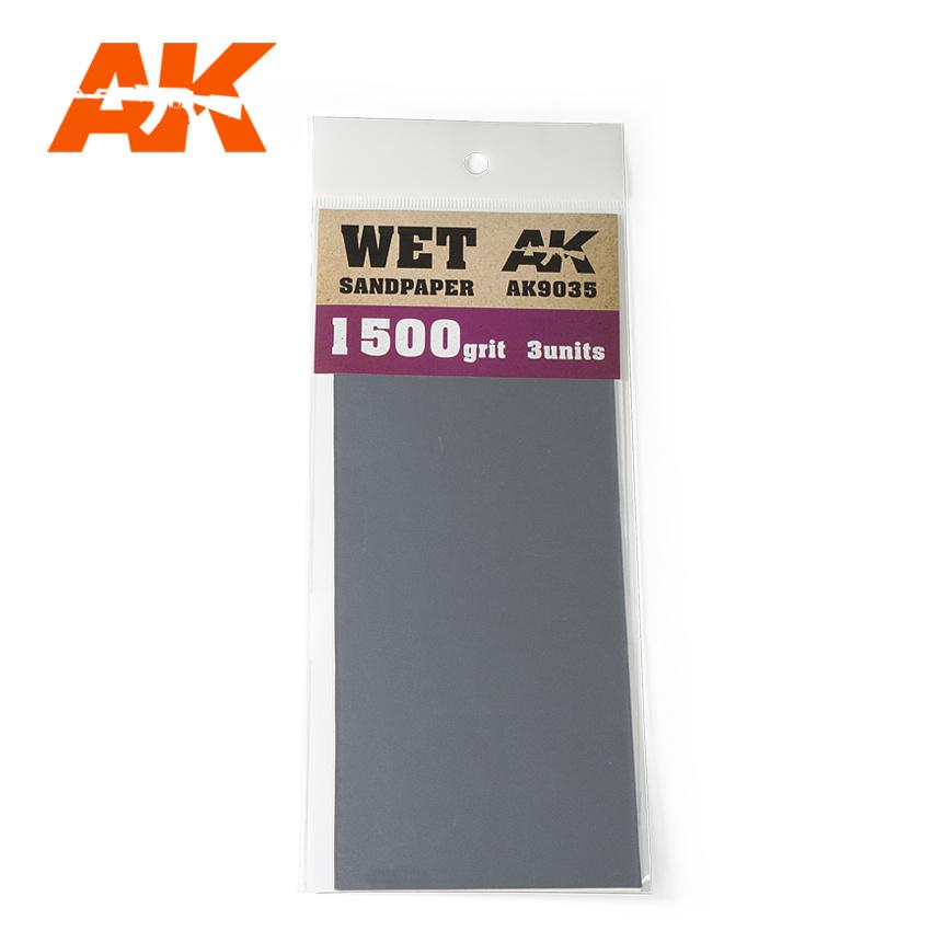 AK-Interactive Wet Sandpaper 1500 Grit. 3 Stuks - AK-Interactive - AK-9035