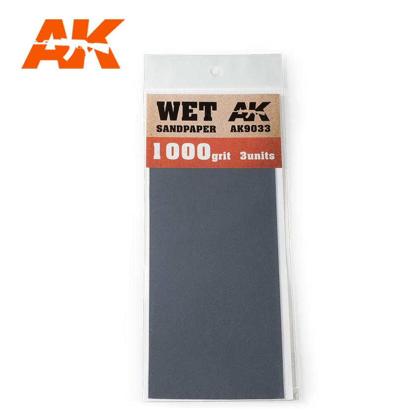 AK-Interactive Wet Sandpaper 1000 Grit. 3 Stuks - AK-Interactive - AK-9033