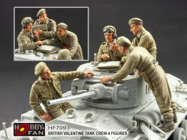 Hobbyfan British Valentine Tank Crew - Scale 1/35 - Hobby Fan - HFN-HF709