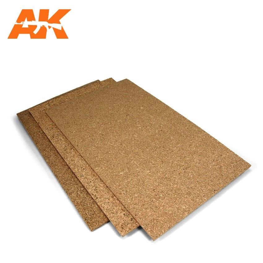 AK-Interactive Cork Sheets - Fine Grained - 200 X 300 X 1Mm (2 Sheets) - AK-Interactive - AK-8046